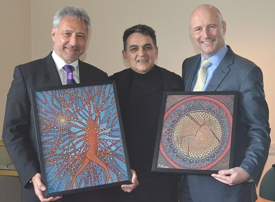 Professor Philip Murray (holding Vitrectomy), Farshad Sanaee, Professor Robert Scott (holding In My Uveitis)